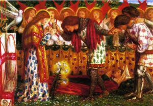 Dante Gabriel Rossetti, How Sir Galahad, Sir Bors and Sir Percival Were Fed with the Sanct Grael, 1864
